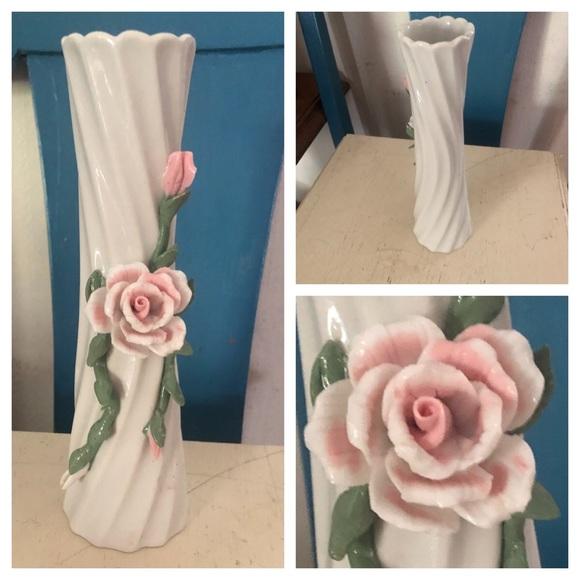 Vintage Ceramic Vase w Raised Flowers